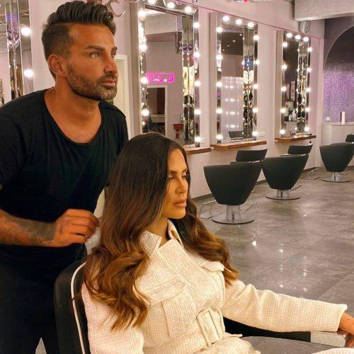 Friseurmeister Vincenzo Brancato und Realitystar Janine Pink bei DA VINCE HAIR & MAKE-UP